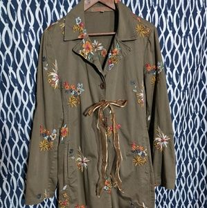 🐺 Johnny Was Floral Embroidered Trench Coat 🐺